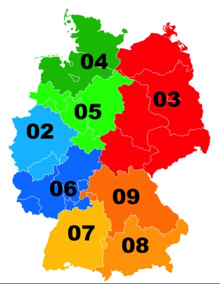 Landkarte mit Vorwahlen in Deutschland