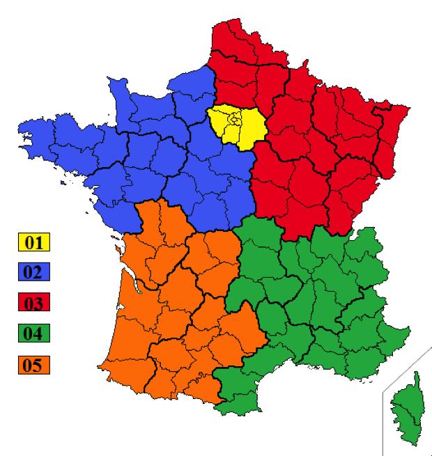 Landkarte mit Vorwahlen in Frankreich