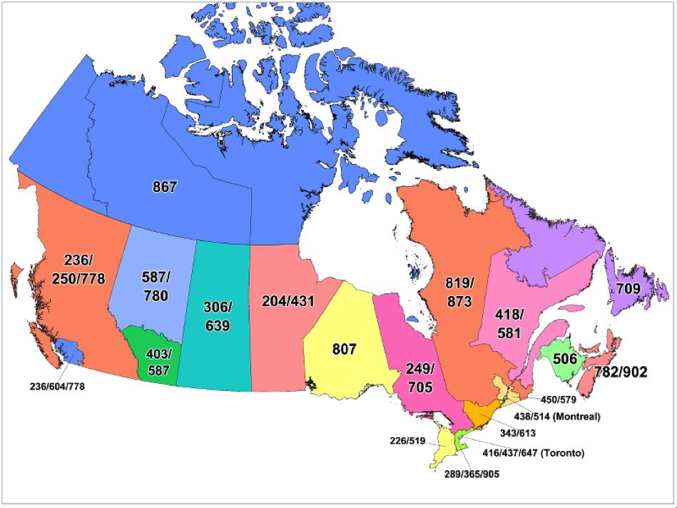 Landkarte mit Vorwahlen in Kanada